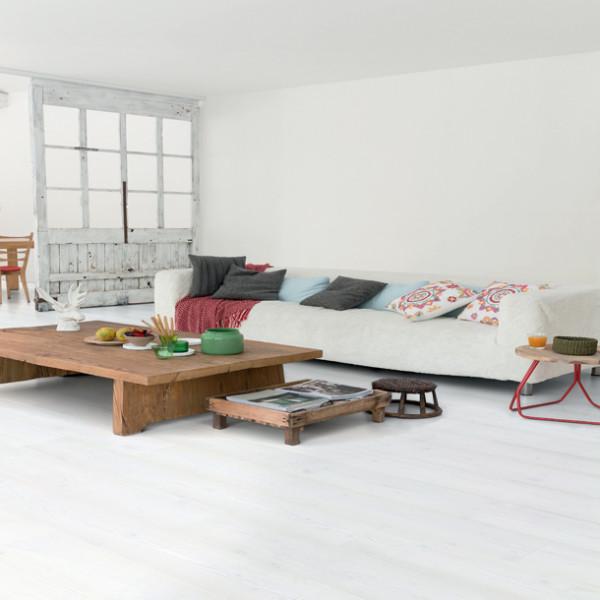 Quickstep impressive 8mm witte planken parketdirect - Betegeld wit parket effect ...